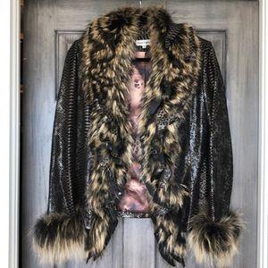 ⚡️Gorgeous leather & fur jacket  worn 1x